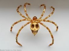 Yellow Gold Skull Beaded Spider with poem Great Mother's Day or Birthday Gift