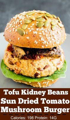 Tofu Kidney Beans Sun Dried Tomato Burger with Sauteed Mushrooms is infused with a variety of flavors. Its super easy to make and serves perfectly for any gatherings | V | kiipfit.com Tofu Recipes, Bean Recipes, Real Food Recipes, Healthy Recipes, Vegan Recipes Beginner, Delicious Vegan Recipes, Amazing Recipes, Vegetarian Cooking, Vegetarian Recipes