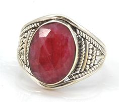 Royal Ruby Gemstone Ring Solid 925 Sterling Silver Jewelry Size 7.75 IR23754