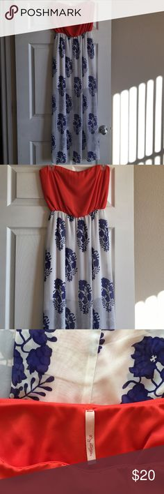 Coral and Floral Print Dress Size small. Short dress underneath with long sheer dress over. Coral color on top. Blue and white floral on bottom. Worn once. In perfect condition. My Story Dresses Maxi