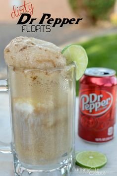 Grown up Floats for Movie Night:  Dirty Dr Pepper float - coconut icecream, fresh lime and an ice cold Dr Pepper. The perfect summer night treat