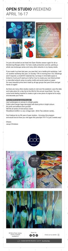 My Open Studios  SAVE THE DATE - April16-17 Bright Colors Art, Colours, Textile Prints, Art Prints, Cotton Plant, Acrylic Painting On Paper, Collector Cards, Still Life Art, Art Series