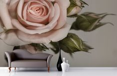 Elegant Pink Rose Wallpaper Wall Mural | MuralsWallpaper.co.uk