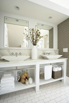 Suzie: Susan Gilmore Photography - Stunning bathroom for two with white double bathroom vanity, ...
