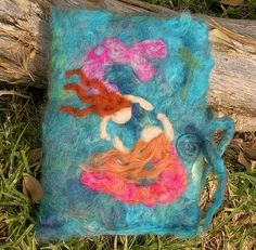 Mermaids at Play - Needle felted wool journal / book cover - waldorf inspired desk accessory diary 1   Flickr - Photo Sharing!