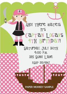 Girl Pirate Party Invitations by PaperMonkeyCompany on Etsy, $1.00