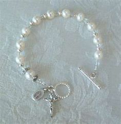 ROSARY BRACELET - Fresh Water Pearl with crystals - sterling silver toggle clasp - Handmade Keepsake Gifts of Faith Wire Jewelry, Jewelry Crafts, Beaded Jewelry, Jewelery, Jewelry Bracelets, Rosary Bracelet, Pearl Bracelet, Homemade Jewelry, Religious Jewelry