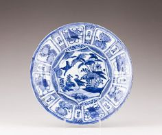 A blue and white Kraak plate, Ming Dynasty, Wanli Reign (1572-1620)