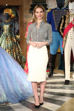 Check out Lily James' chic gingham shirt, paired with a white pencil skirt and ladylike pumps: