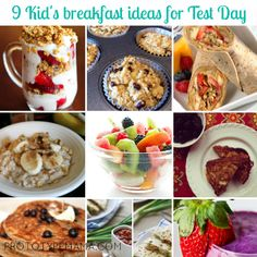 Kids breakfast ideas on test days. (Also could use these for the healthy eater).