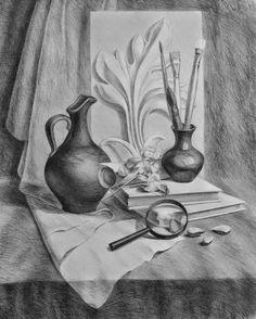 «Рисунок с вазой» — карточка пользователя Федорченко В. в Яндекс.Коллекциях Pencil Portrait Drawing, Pencil Sketch Drawing, Pencil Painting, Pencil Art Drawings, Figure Painting, Painting & Drawing, Still Life Sketch, Still Life Drawing, Cool Art Drawings