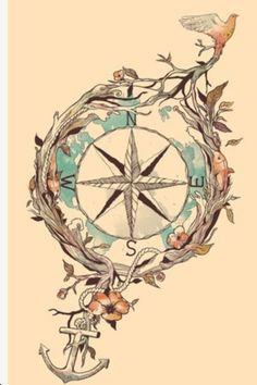Cute compass tatto idea