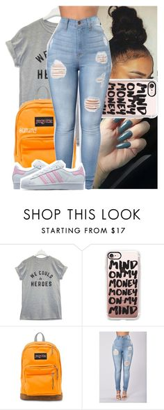 """clean up time, quavo bring the mop out."" by lamamig ❤ liked on Polyvore featuring Casetify, JanSport and adidas Originals"