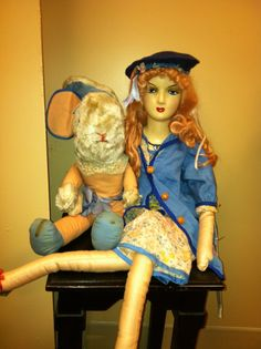 """Alice & her White Rabbit "" a reatored boudoir doll"