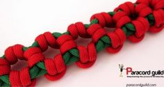 Aztec sun bar paracord bracelet pattern- green and red.