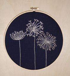 dandelion embroidery - like the dark blue