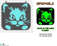 Kitten #1 Glow in Dark Window Plaque plastic canvas pattern by Michael Kramer