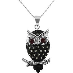 Jewel Exclusive Sterling Silver Marcasite Crystal Owl Pendant ($30) ❤ liked on Polyvore featuring jewelry, pendants, multi, owl necklace pendant, sterling silver charms pendants, crystal necklace pendant, sterling silver jewelry and pendants & necklaces
