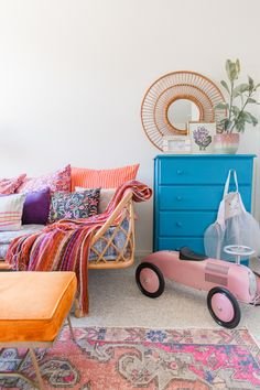 A Colorful & Eclectic Playroom Tour Playroom Rug, Colorful Playroom, Colorful Girls Room, Bedroom For Girls Kids, Kids Rooms, Old Room, Baby Room Design, Pretty Bedroom, Eclectic Decor