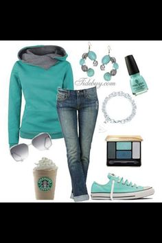 Fall outfit turquoise