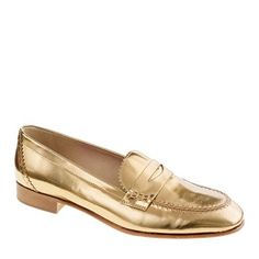 These are some cute metallic loafers from J.Crew. They also come in silver and are the Biella metallic penny loafers.