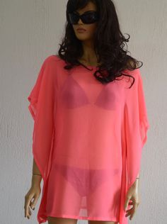 Neon pink chiffon caftan beach cover up summer dress by bstyle