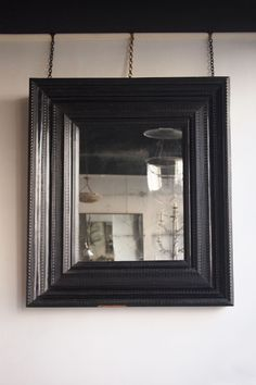 """""""Dutch 17th C. ebony framed mirror of bold proportions, the C19th mercury mirror plate within a pine frame applied with solid ripple carved ebony, in well preserved original condition, Dutch c.1680"""" - Howe london.  51 1/4"""" x 43 1/4"""""""