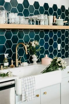 #Trends To Stay: Green & Gold in the kitchen, bathroom, living room and more.  #interiordesign