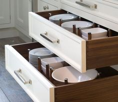 Dish peg dividers in wide drawers