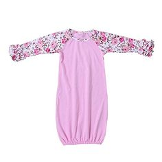 "Kaiya Angel Baby Sleeping Bag Infant Girl Sleep Wear Cotton Ruffle Floral Raglan (NB)  <b>*</b>Please confirm that the sleeping bag is purchased from ""Kaiya Angel"" before ordering and don't buy imitations from other store.  <b>*</b>Attention please: Please kindly check the baby sleeper gown size chart and images carefully BEFORE ORDERING. Our baby sleepwear is designed to allow room for growth, height is a better reference than age in choosing the correct size.  <b>*</b>About the baby ..."