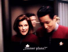 Janeway and Chakotay - Dinner Plans? Date night in the Captain's quarters!