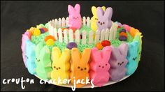 Who doesn't love Peeps and rainbows?! Learn how to make this adorable rainbow Peeps cake for Easter!! This is a super easy cake to make and sure to be a hit on Easter Sunday!! You can also leave the top plain and just fill it in with jelly beans or Easter M&M's. See how to make it here: http://youtu.be/OGNSR60J2_4