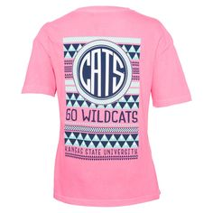 K-State Faux Pocket Cats Aztec Pink T-Shirt