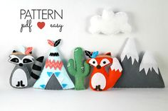 Tribal Felt Sewing Pattern - Tribal Baby Mobiles - Raccoon - Fox - Teepee - Snowy Mountain - Cactus - Sewing Patterns at Makerist