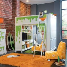 Kids Room : White Lacquered Wood Kids Loft Bed With Storage With Orange Fur Rug Also Orange Polca Dot Sofa Chair And Red Brick Wall Background Besides Black Solid Wood Flooring Storage Design Ideas to Keep Your Child's Toys Childrens Wooden Storage Bench. Childs Storage Box. Toy Storage Units With Bins.