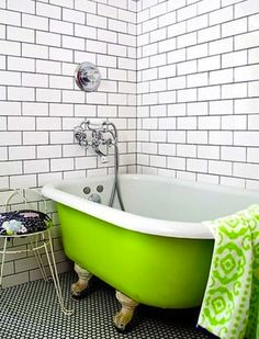 Boring Bathroom? Brighten up with color! #tub #decor #inspiration