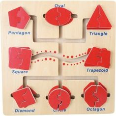 Sort out the shapes and move them to the correct position on the board. This activity board encourages advanced shape recognition and develops fine motor skills whilst having fun. Motor Skills Activities, Fine Motor Skills, Activity Board, Wooden Shapes, Wooden Toys, Triangle, Holiday Decor, Montessori, Maze