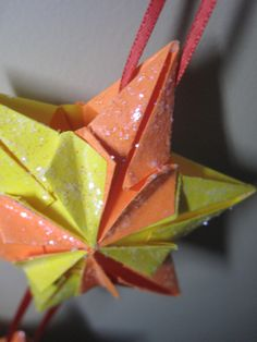 Origami Star Ornament Close Up Of Chunky Ish Glitter For The Fresh Fallen Snow