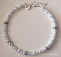 Halsketting Classic Collier pearls strass