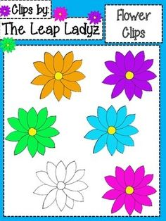 This is our set of colorful clip art flowers.They are in a zip file, png format, transparent, and can be made larger or smaller without altering the shape.This set includes 6 flowers: Black and white, blue, green, orange, purple, and pink.This clip art was created by The Leap Ladyz and can be used for personal and commercial use.