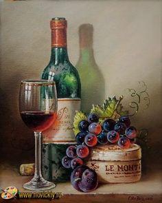 Wine Painting, Fruit Painting, Wine Bottle Art, Wine Art, Still Life Drawing, Painting Still Life, Still Life Pictures, Ganesha Art, Wine Decor