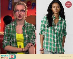 Maddie's green plaid shirt on Liv and Maddie.  Outfit Details: http://wornontv.net/39103/ #LivandMaddie
