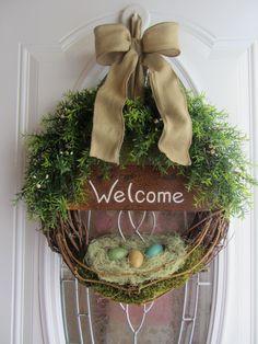Spring Door Wreath - Easter Wreath - Welcome Wreath - Spring Decor. $64.95, via Etsy.