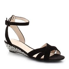 Suede Sandals with Small Wedge Heel