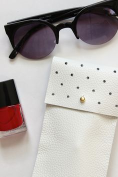 DIY No-Sew Leather Glasses Pouch - see kate sew - great use for upholstery samples