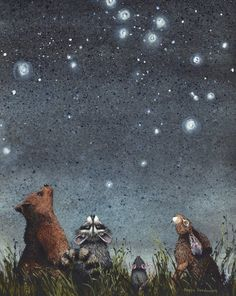 """Watercolor print, constellations by Maggie Vandewalle, 8 """"x matted to fit an 11 """"x frame - For this article Constellations is an print by watercolor artist Maggie Vandewalle. Art And Illustration, Constellations, Woodland Creatures, Whimsical Art, Woodland Art, Illustrators, Fantasy Art, Art Photography, Artsy"""