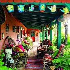 So good - bohemian porch   CHECK OUT MORE PORCH AND SCREEN DOOR IDEAS AT DECOPINS.COM   #porch #porches #screendoor #screendoors #outside #exterior #homedecor #porching