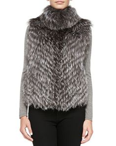 Striped Fox Fur Vest, Gray by Pologeorgis at Neiman Marcus.