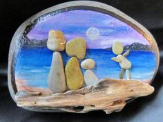 Always ONE in the BUNCH - pebble art painted rock, driftwood display, beach, ocean, family, moon by ArtiStones on Etsy