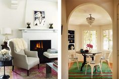 From left: At the Hollywood Hills home of the actress Amanda Peet, an ongoing project that Turner began in 2010, the designer placed a 19th-century wingback chair upholstered in Belgian leather in front of the fireplace, with an Elizabeth Peyton painting over the mantel; elsewhere in Peet's home, he set an antique table atop a vintage Turkish rug, surrounding it with decades-old industrial chairs. Photos by Coleina Rentmeister